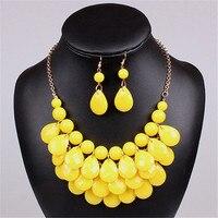 Acrylic Bead Chokers Statement Yellow Necklace Bib Bubble Necklace Earrings Jewelry Set Multi Layer Jewellery Sets