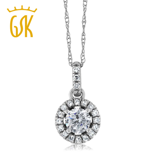 GemStoneKing Real 18K White Gold Fine Jewelry 0.35 Ct Round Natural G/H Diamond H/I Diamond  Halo Illusion Pendant Necklace