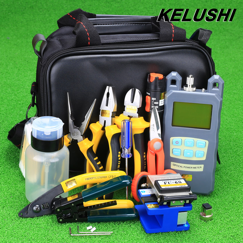 KELUSHI 23pcs Fiber Optic Cold Connection Tool Kit with FC 6S Cleaver and Optical Power Meter