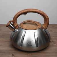 304 Stainless Steel And Nature Wood Burning Water Kettle 3L Capacity Gas Stove Bottle Opening Teapot