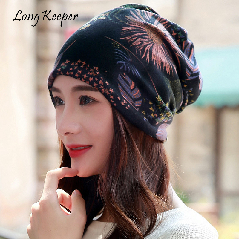 Long Keeper Women's Scarf & Winter Hats Multi Purpose Ladies Floral Hat Spring Autumn Hip Hop   Beanies   Hats Scarf Mask Bonnet
