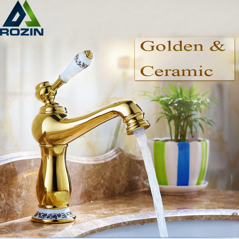 Golden Ceramic Bathroom Vessel Sink Mixer Faucet Single Lever Brass Deck Mounted Hot and Cold Basin Water Taps Free Shipping  antique bathroom vanity sink faucet single ceramic handles brass hot and cold basin mixer copper pop up drain