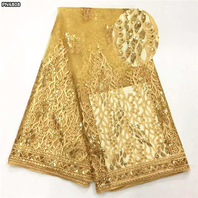 Gold lace with sequins Net lace high quality African tulle lace fabric 2017 french net lace embroidered for wedding 5 yards PN68