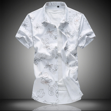 MarKyi 2017 summer new floral mens dress shirts casual slim fit good quality short sleeve cotton plus size 7xl
