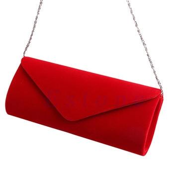 New 1Pc Ladies Velvet Evening Clutch Handbag Chain Bag Formal Chain Shoulder Tote Purse 4