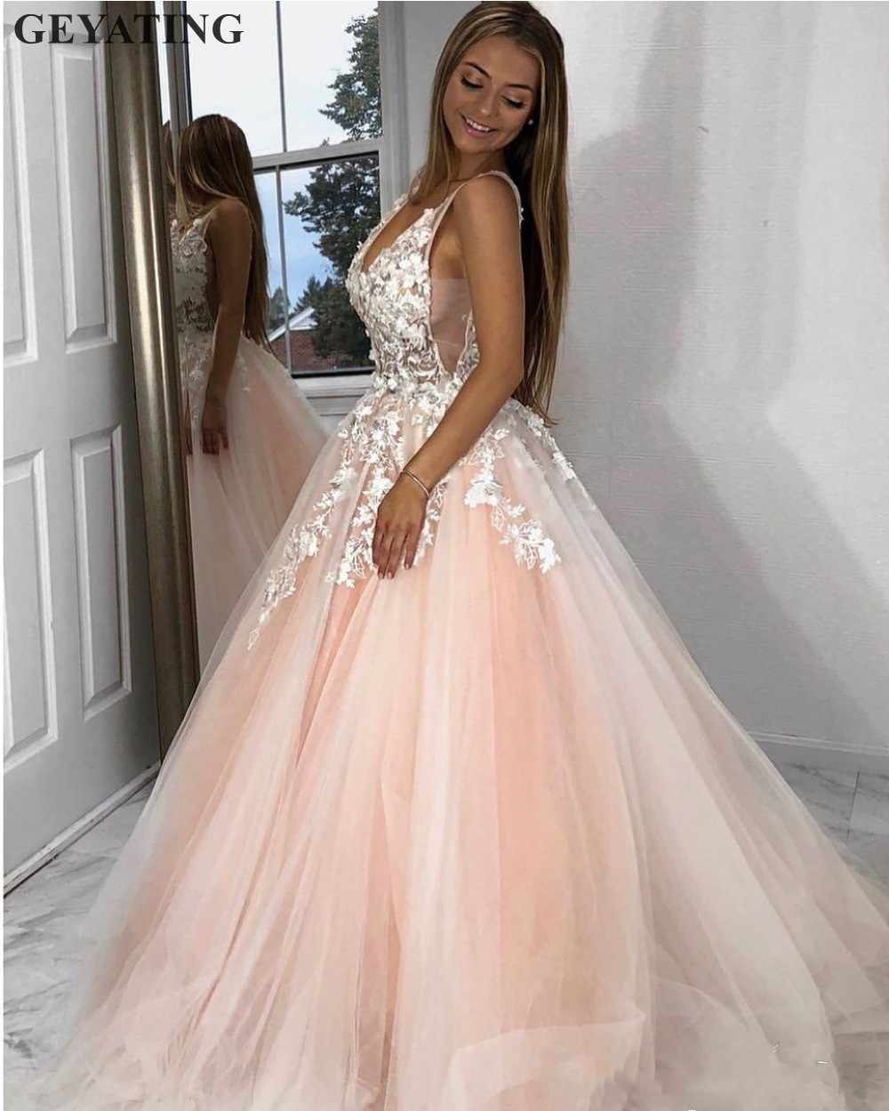3df76368e65c2 Sexy V-Neck Backless Blush Pink Prom Dresses 2019 Mint Green Tulle Ball  Gown Vestidos de gala Elegant Long Evening Formal Dress