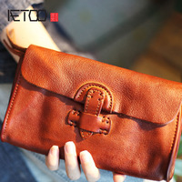 AETOO New handmade soft leather buckle trend male youth student female cross section long paragraph neutral Vintage wallet