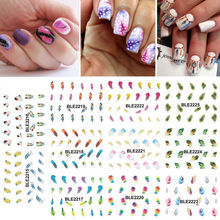 BLE2215-2225  Hot sale 1 Lot = 11 Sheets Large Rainbow Color Feather Water Transfer Nail Art Sticker Watermark Manicure Pedicure