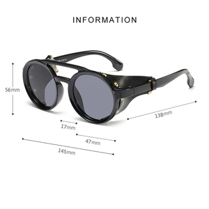 Image 4 - KEITHION Men Steampunk Goggles Sunglasses Women Retro Shades Fashion Leather With Side Shields Style Round Sun glasses