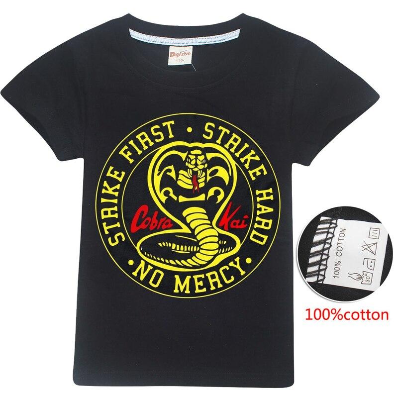 Kids Cobra Kai animal print T-shirt Summer Boys Garden Girl cotton Tshirts funny Anime tops Skateboard The Karate Black Shirts