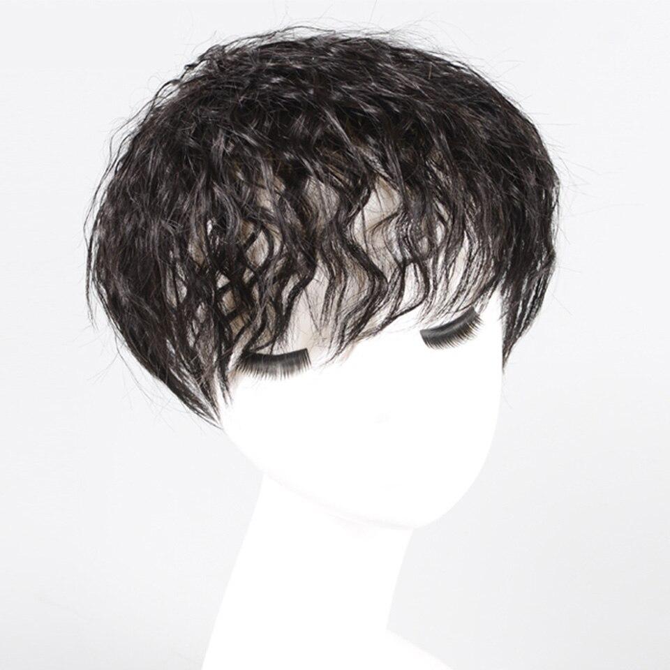 Xnaira feminino proteína de seda sintético invisível cabelo sem emenda mão-tecido bloco de substituição parte superior peças de cabelo de substituição