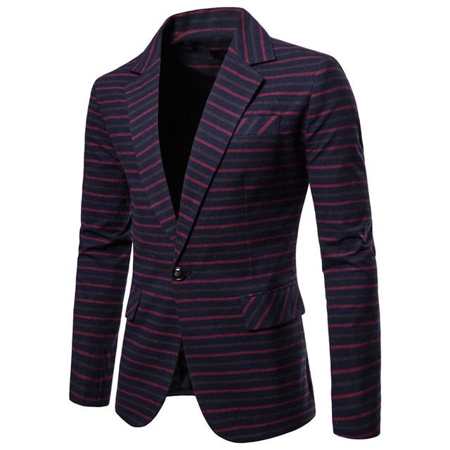 Riinr Blazers Men 2018 Brand Fashion Single Button Suit Jacket Cotton Slim Fit Men Stripe Suit Coats Business Wedding