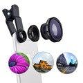 3in1 Universal Clip Smartphone Cámara de Ojo de Pez Lente Gran Angular Macro lente de teléfono móvil para iphone 7 6 5 4 teléfonos inteligentes ojo de pez