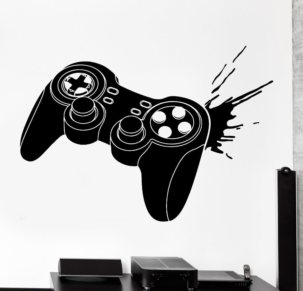 Gamer Vinyl Wall Sticker Gaming Joystick Joypad Controller