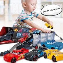Disney Diecast Металлический Сплав Pixar Cars 3 металлический грузовик Hauler с 6 маленькими автомобилями disney Cars 3 Jackson Storm McQueen игрушки для детей