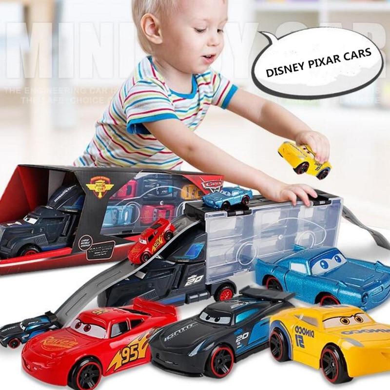 Disney Diecast Metal aleación Pixar Cars 3 Metal camión transportador con 6 coches pequeños Disney Cars 3 Jackson Storm McQueen juguetes para niños
