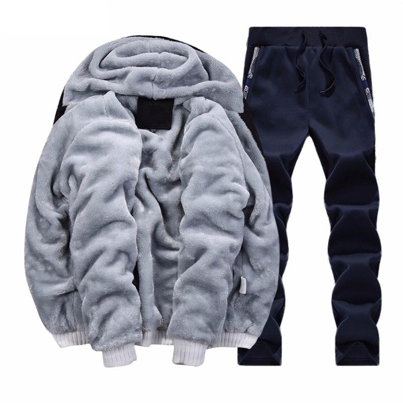 bcd2125588c Купить Меховая флисовая Мужская камуфляжная зимняя брендовая теплая  толстовка с капюшоном 2018 куртка кардиган спортивный костюм мужской 2 шт.  курт.
