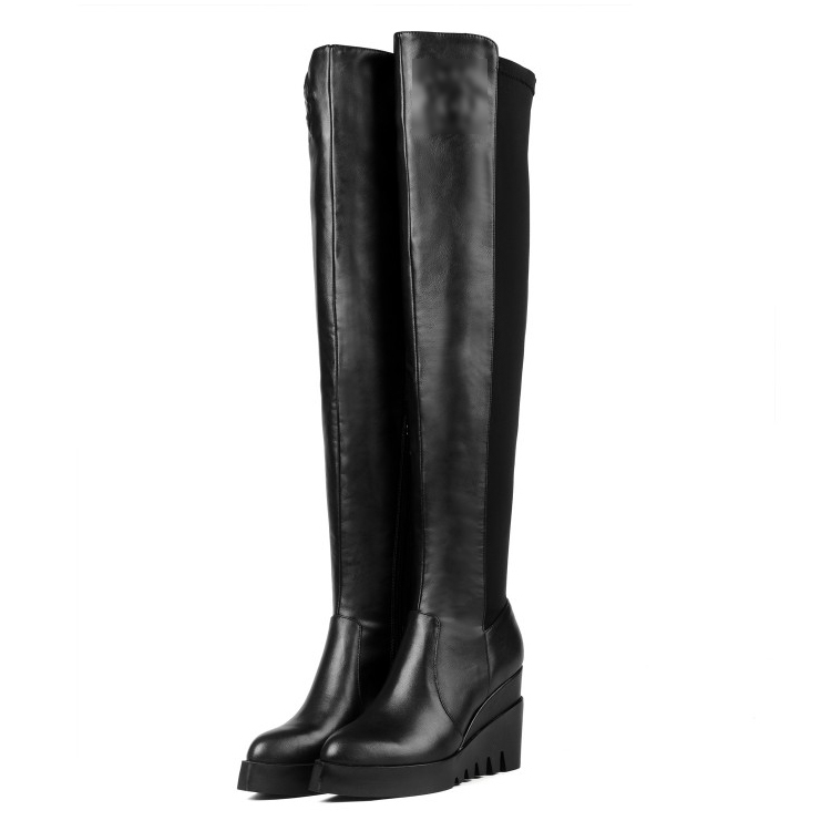 High Quality 2017 women's designer Pointed Toe Over the Knee Full Grain Leather boots ladies fashion Wedges Riding boots thin heels full grain leather over the knee boots sapatos femininos pointed toe fashion boots ladies shoes woman