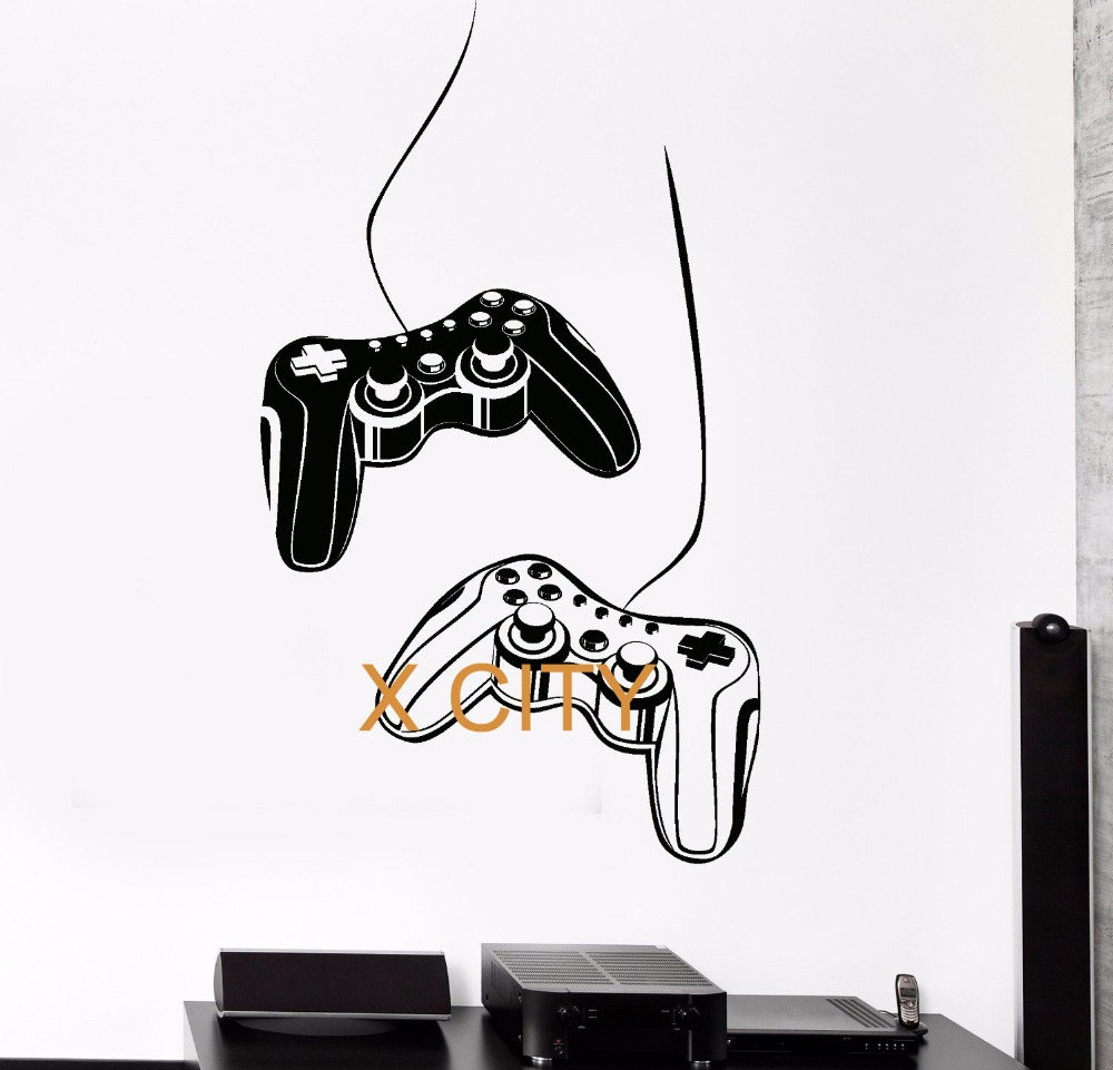 Joystick Wall Decal Gamer Video Game Play for Xbox Room Kids Vinyl Stickers Art Mural Pop Modern Home Room Decor