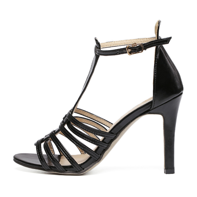 2016 Fashion Women Peep Toe High Heels Shoes Sandals New Rome T-Tied Sexy Sandals Elegant Evening Party Tacones Black Brown