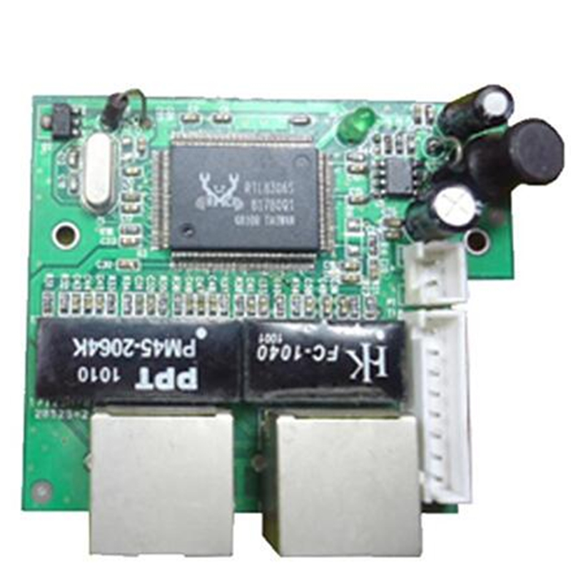 factory direct mini fast 10/100mbps 2 port ethernet network lan hub switch board two layer pcb 2 rj45 1*8pin head port-in Network Switches from Computer & Office