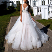 Ruffle Wedding Dress 2019 Chape Train Elegant Sexy Deep V neck Flower Appliques Fantasy Bridal Dress robe de soiree