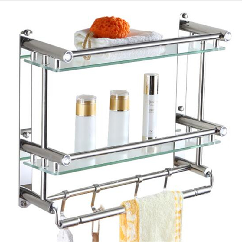 Bathroom Shelf Polished Silver 304 Stainless Steel Bathroom Shelves Rack with Hooks Single Dual Tier Wall Mounted Corner Shelf