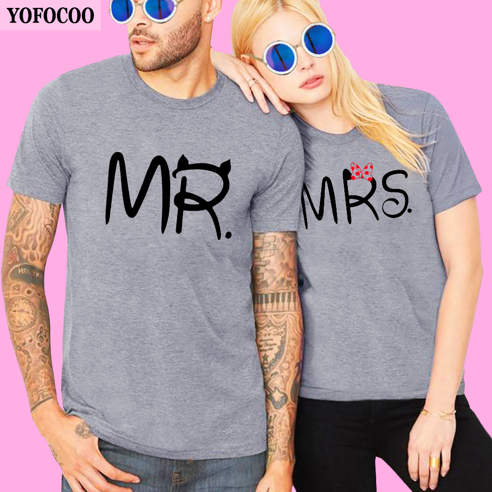 YOFOCOO Lovers Couple T Shirt Women Men Newest Valentines Gift Printing Mrs Mrs Couple Summer Matching Clothes for Lovers in T Shirts from Women 39 s Clothing