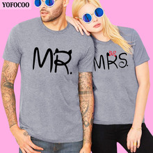 YOFOCOO Lovers Couple T-Shirt Women Men Newest Valentines Gift Printing Mrs Summer Matching Clothes for