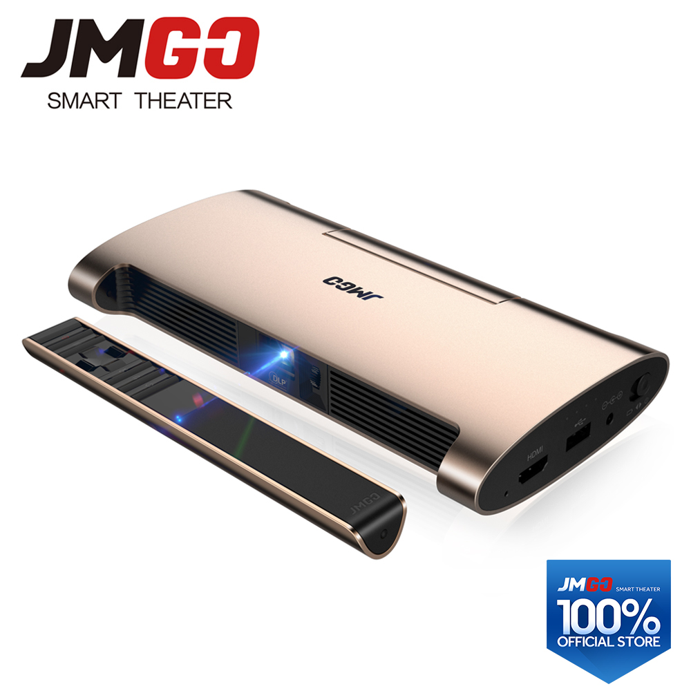 JMGO Portable Android 7.0 Projecteur M6. 200 ANSI Lumens, Soutien 4 k, 1080 p Décodage. Ensemble en WIFI, Bluetooth, HDMI, USB, Stylo Laser