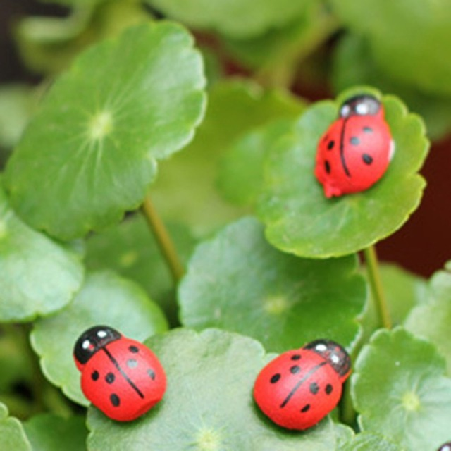 10pcs/set Micro Landscape Artificial Ladybug Wooden Beetles Ladybug Desk Decoration Crafts Beads Embellishments Accessories