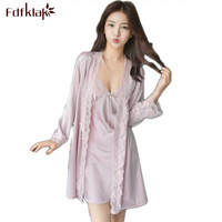 Fdfklak Lingerie Sexy Hot Spring Summer Nightgown Robe Set Faux Silk Dressing Gowns For Home Black