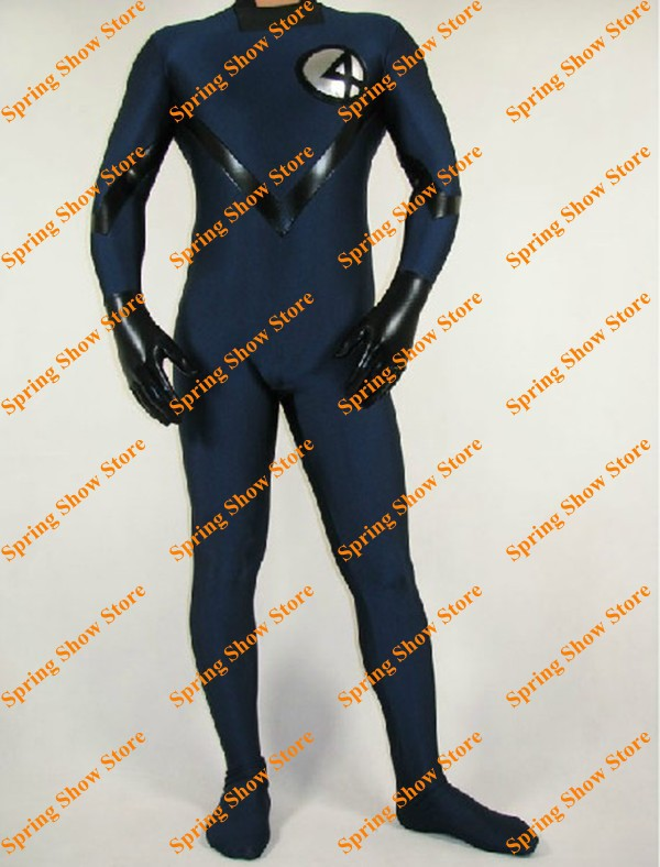Фантастическая четверка темно-синий эластичный spandes/лайкра, униформа Косплэй костюм плотно купальник