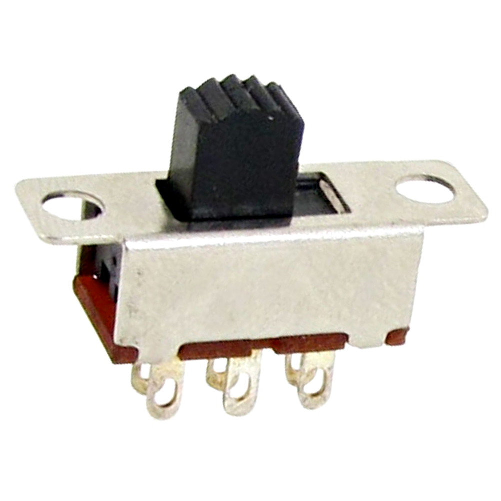 High Quality 10 Pcs 2 Position DPDT 2P2T Panel Mount Vertical Slide Switch 6 Pin 0.5A 50V DC 10pcs toggle switch 2 position 6 pins with fixed hole handle high 5mm dpdt 2p2t panel mount slide switch 125vac