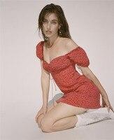100% Silk Women The Venus Red Squiggle Print Short Sleeve High Waist Sexy Bustier Waisted Mini Dress