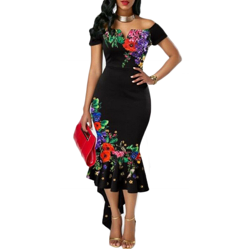 Off Shoulder Flowers Sundress Fashion Women Lady Short Sleeve Bodycon Ruffles Outfits Clothes Print Party Irregular Dress XXL