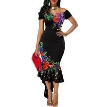 Off shoulder Flowers sundress fashion Women lady short sleeve bodycon ruffles ou