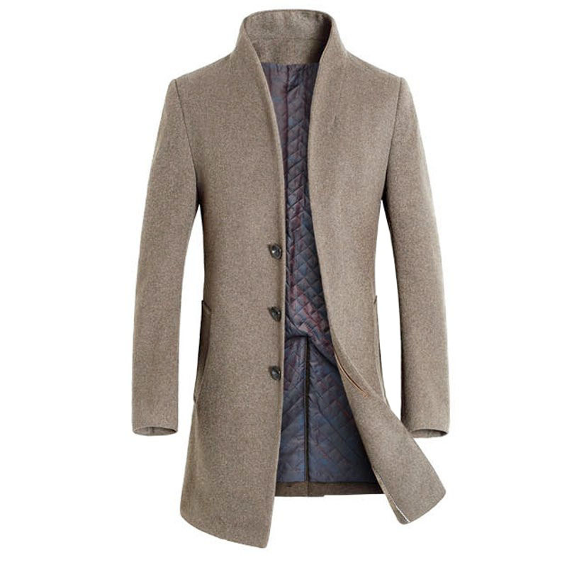 Британский стиль Для мужчин шерстяной пальто Тренч Верхняя одежда зимняя обтягивающая модель модная длинная куртка ветровка теплое пальто...