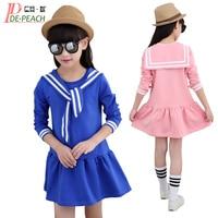 Girls Cute Mini Dress Brand Children Naval Collar Dresses Long Sleeve Vestidos Cotton Fashion Party Dresses