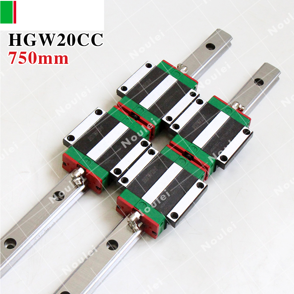 CNC Guide Rails, 2pcs HIWIN HGR20 Linear Rail 750mm + 4pcs HGW20CC CNC Linear Guide Rail Block 2pcs hiwin hgh25ca linear guide slider block linear rails carrier