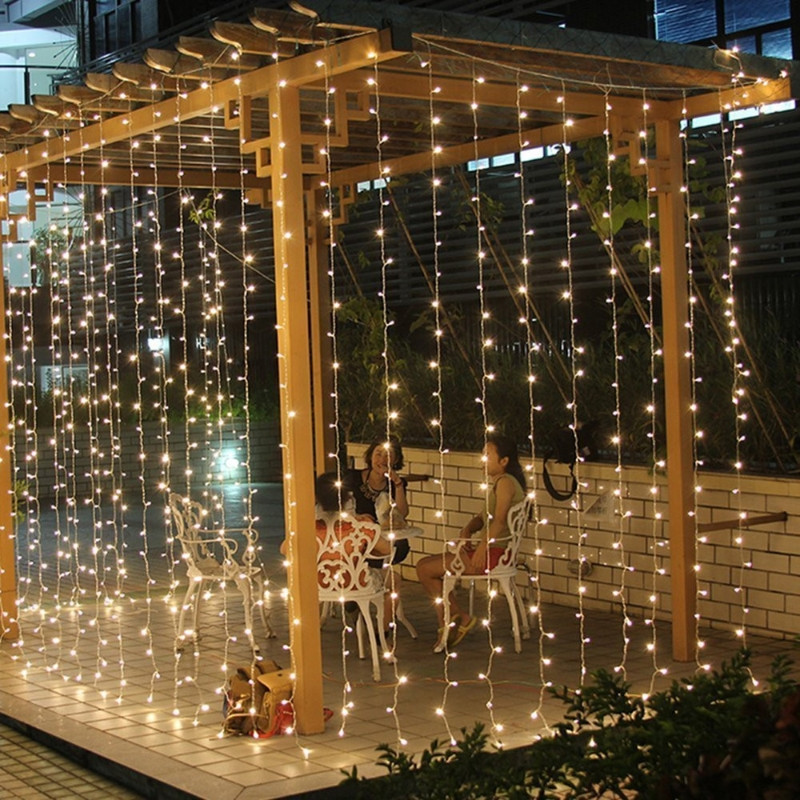 3x3m 448 LED Indoor Outdoor Curtain Fairy String Light Garlands Xmas Wedding Party ...
