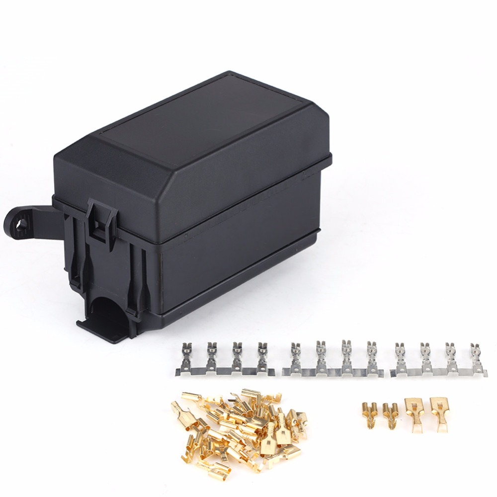 6-Way Fuse Relay Holder Box Socket for Auto Car SUV Off-Road Pickup Truck Univer
