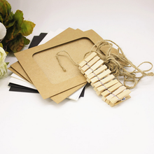 2 sets (10pcs/set) White / Black / Brown Kraft Paper Photo Frame Wall Hanging Album Frame With Hemp Rope Clips Party Decoration(China)