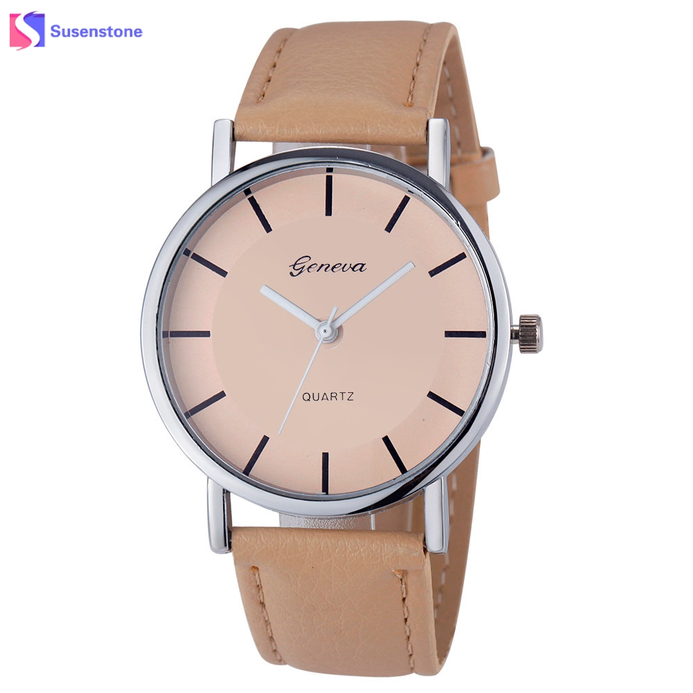Cheap Watch Women Fashion Simple Style Alloy Dial Clock PU Leather Band Analog Quartz Wrist Watch Ladies Sport Watches reloj popular women watch analog with diamonds style round dial steel watch band