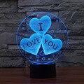 Multi-Lâmpada em forma 3D Ilusão Eu Te Amo Luz Da Noite Acrílico Presente do Dia Dos Namorados para o Amante romântico Gradiente Lâmpada com USB linha