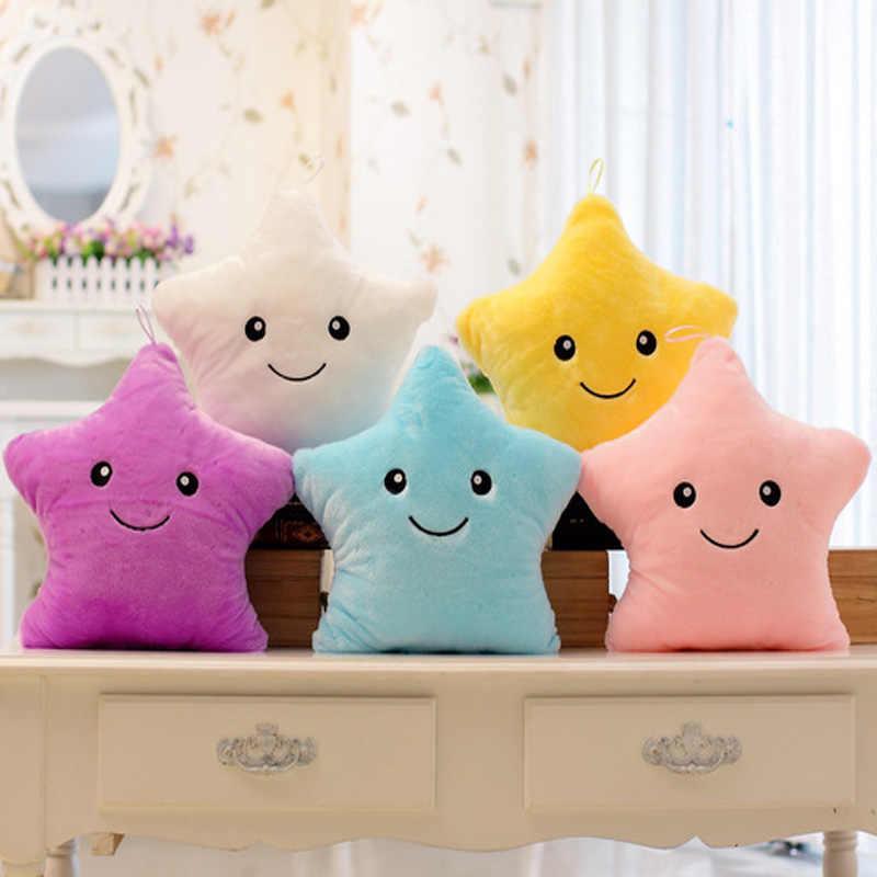 Горячая 35*40 см Kawaii подушка в форме звезды Цвет изменить светящаяся подушка со светодиодной подсветкой Мягкие плюшевые игрушки для детей