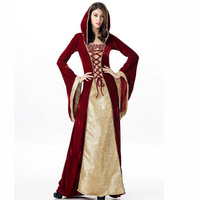 Luxury Red Gold European Court Hooded Vintage Fancy Dress Cosplay Sexy Queen Costume Victorian Halloween Costumes
