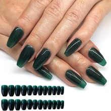 24Pcs Removable Wearing Ballet Jelly Long Nail Dark False Nails Candy Ins Collection of Finished Products