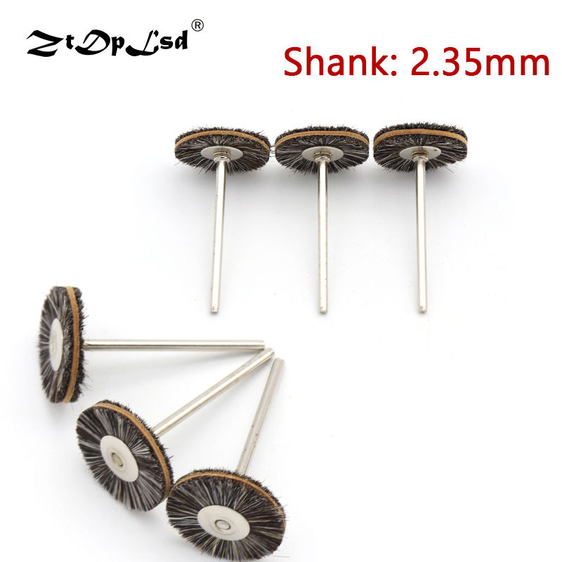 2.35MM Shank Mini Pig Hair Cowhide Polishing Buffing Brush For Drill Rotary Grinding Tools Dremel Accessories Brushes Diameter