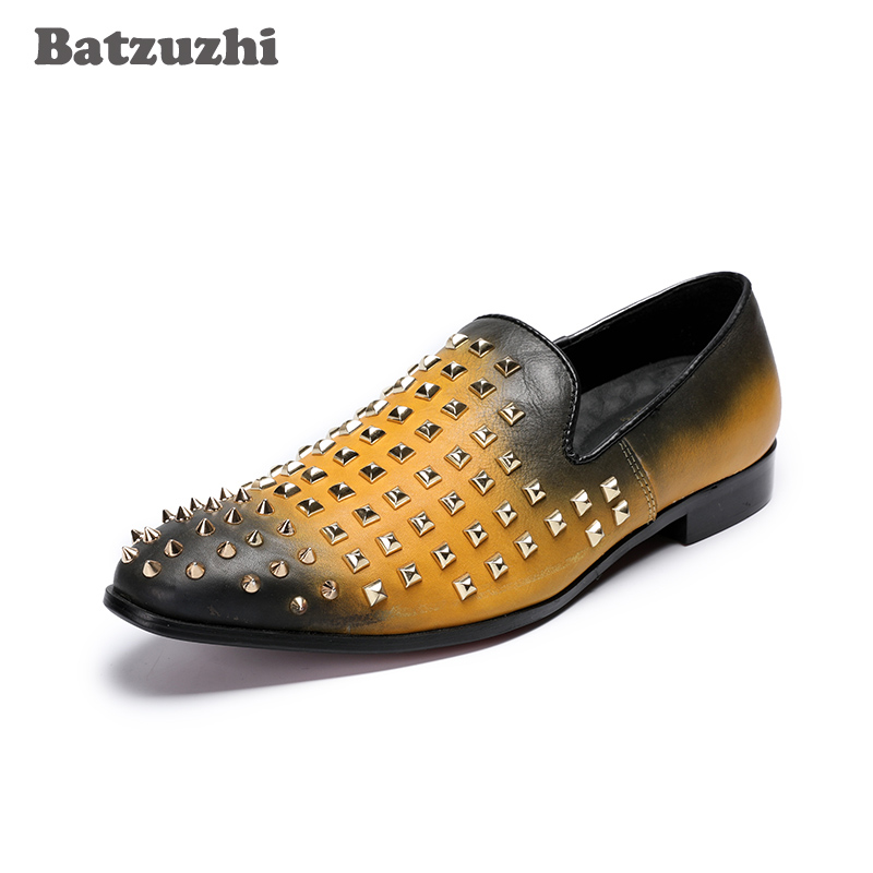 Batzuzhi Handmade Leather Men Casual Shoes Luxury High Quality Rivets Rock Shoes Men Fashion Comfortable Breathable Men Shoes micro micro 2017 men casual shoes comfortable spring fashion breathable white shoes swallow pattern microfiber shoe yj a081